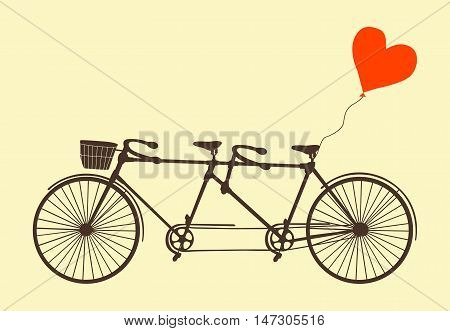 Tandem bicycle and heart. Vector. Ideal for invitation design, save the date, wedding and other. Valentine's Day postcard with vintage tandem bicycle.