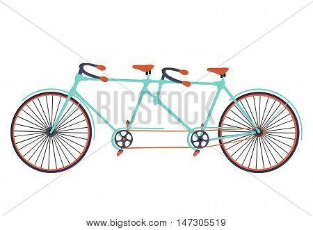 Flat tandem bicycle on white background. Bike. Stylish bicycle. Vintage bicycle.