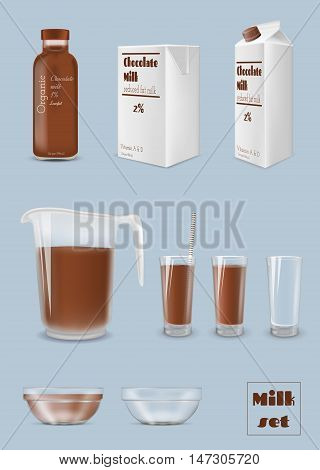 Milk carton and bottle glass of chocolate milk. Packaging and glassware
