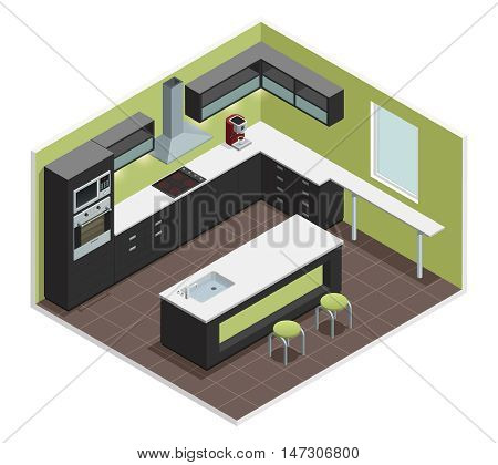 Modern kitchen interior isometric view with counter stove range cooker oven  shelves refrigerator and cabinets vector illustration