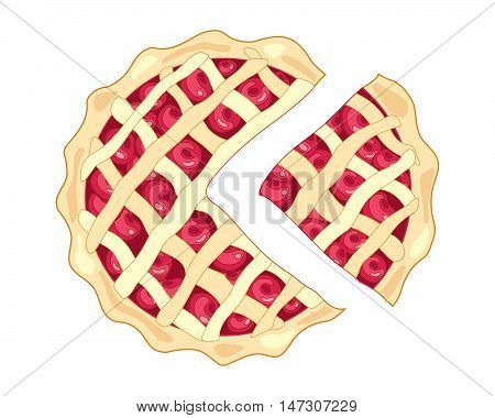an illustration of a slice of cherry pie with a golden crust and lattice design with plump ripe red cherries on a white background