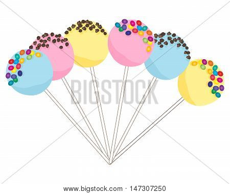 an illustration of colorful cake pops with pink yellow and blue frosting decorated with candy beans and chocolate chips on a white background