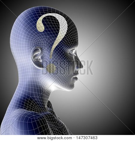 Concept or conceptual 3D wireframe human female question ask head on blue background as metaphor for technology, cyborg, digital, girl, virtual, avatar, model, science, fiction, future, abstract mesh
