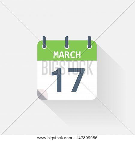 17 march calendar icon on grey background