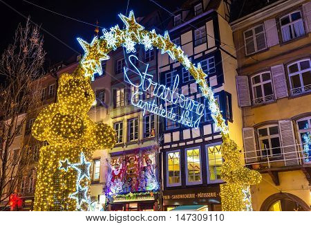 Entrance to the Christmas Market in Strasbourg - Alsace, France