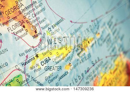 Map Cuba and Florida close-up macro image of Cuban map . Selective focus