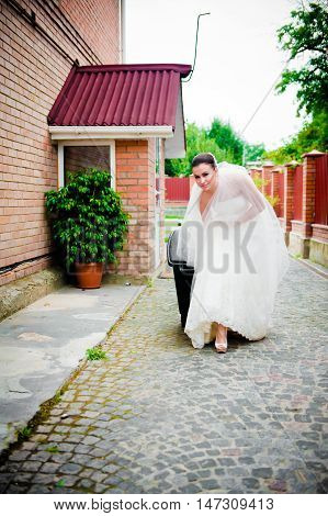 Beautiful Girl In A Wedding Dress Garbage Collection