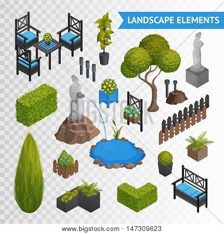 Various garden park landscape isometric elements set with plants flowers furniture and statues isolated on transparent background vector illustration