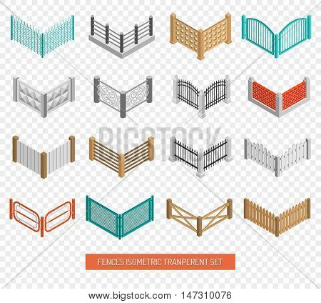Fences for real estate boundaries from wood and wrought iron isometric icons collection transparent background isolated vector illustration