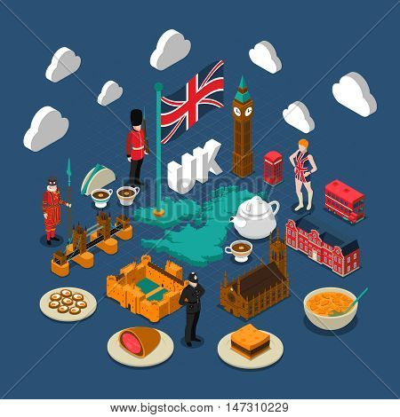 Great Britain concept composition with culture and travel symbols isometric isolated vector illustration