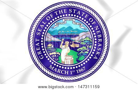 Seal of Nebraska USA. 3D Illustration. Close Up.