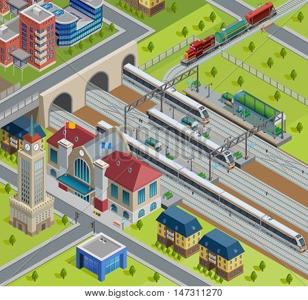 City railway terminal track platform isometric poster with traditional station building and modern passenger trains vector illustration