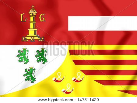 Flag Of Liege Province, Belgium. 3D Illustration.