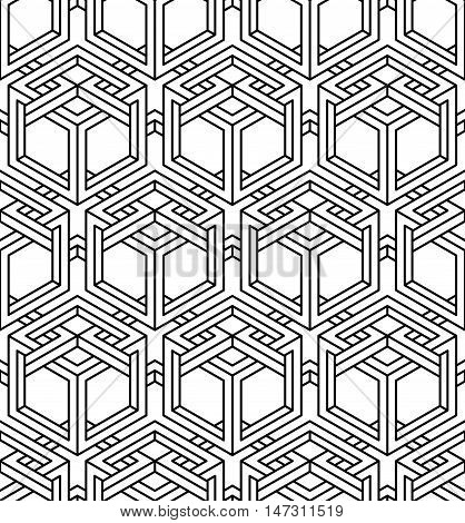 Graphic seamless abstract pattern regular geometric black and white 3d background. Contrast ornament.