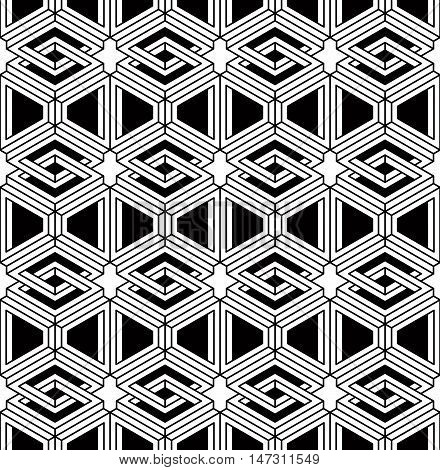 Black and white illusive abstract geometric seamless 3d pattern. Vector stylized infinite backdrop best for graphic and web design.