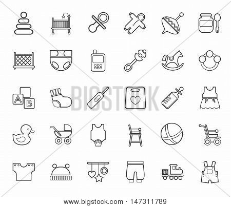 Baby products, contour icons, monochrome. Clothes, toys and personal items for newborns and young children. Linear icons on white background.