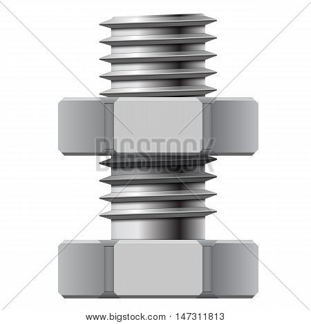 Bolt and nut on a white background. Vector illustration.
