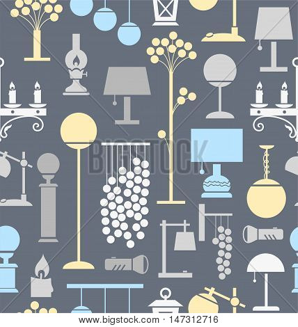Lamps for home and garden, background, seamless, gray. Vector background with different lamps. Grey, light blue and yellow flat image on a gray background.