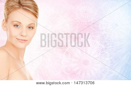 beauty, people and health concept - beautiful young woman face over rose quartz and serenity pattern background