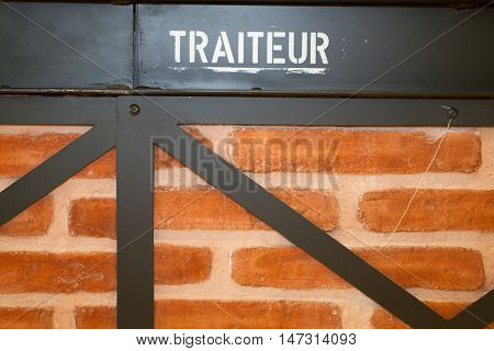 Brick Wall Background And French Word