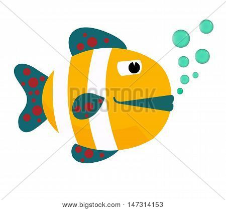 Yellow fish flat cartoon vector illustration. Eps10. Isolated on a white background.