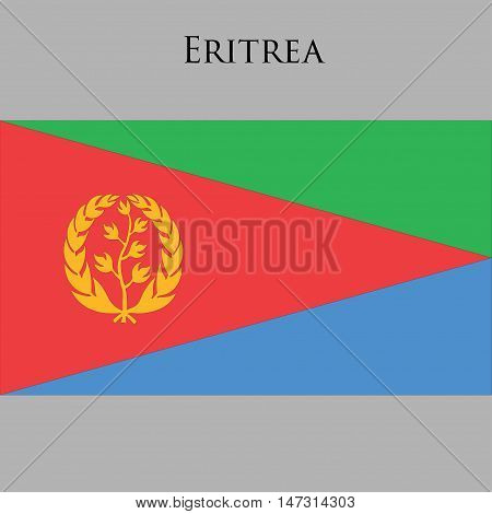 Eritrean flag on a gray background. Vector illustration