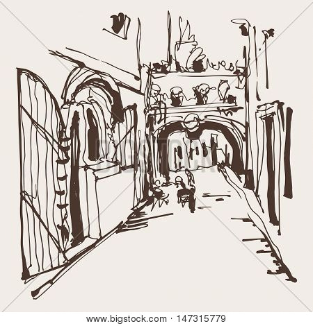 ink sketching of historic narrow cobbled street in Budva Montenegro, old town travel vector illustration