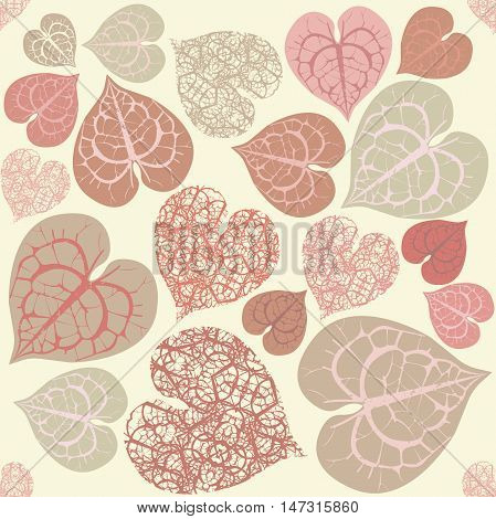 Vector Seamless Pattern With pink and red Leaves. Template for design fabric, covers and wrapping paper.