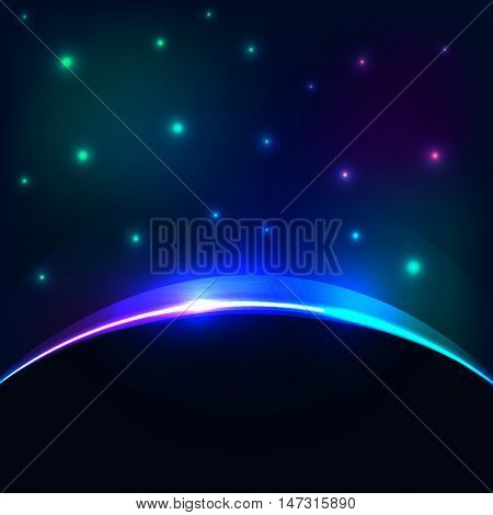 Vector eclipse cosmic sky background. Glowing stars and planet backlight abstract effect.