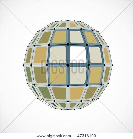 Vector Dimensional Wireframe Low Poly Object, Spherical Yellow Facet Shape With Black Grid. Technolo