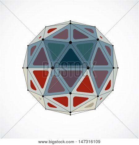 Vector Dimensional Wireframe Low Poly Object, Colorful Spherical Shape With Black Grid. Technology 3