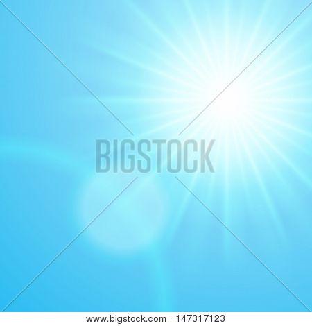 Sun with lens flare blue sky vector background.