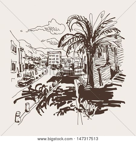 sepia sketch drawing of Petrovac Montenegro street with palm, travel postcard vector illustration