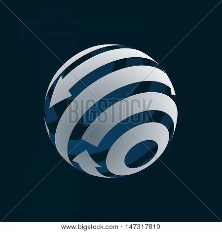 Abstract Globe Logo Element. Rotating Arrows. Vector Symbol of Globalization. 3D Design. Rotating Globe. Vector Illustration