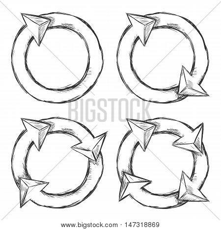 Vector Set Of Sketch Circle Arrows