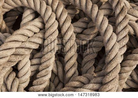 Older intricate marine ropes closeup