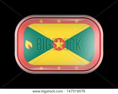 Flag Of Grenada. Rectangular Shape With Rounded Corners