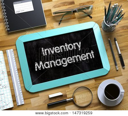 Inventory Management on Small Chalkboard. Small Chalkboard with Inventory Management Concept. 3d Rendering.