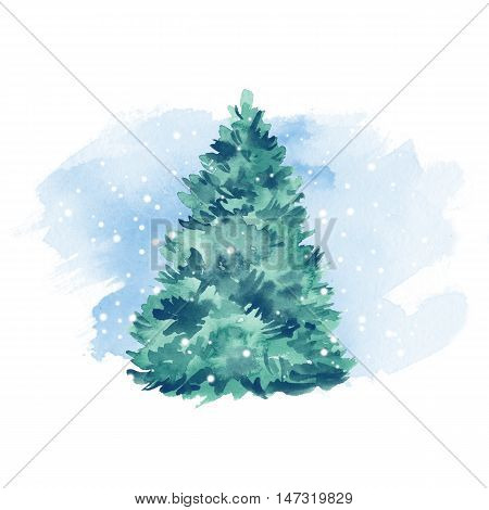 Green fir tree and snow. Winter background. Watercolor painting