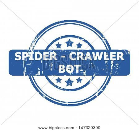 Spider Crawler Bot Stamp with stars isolated on a white background.