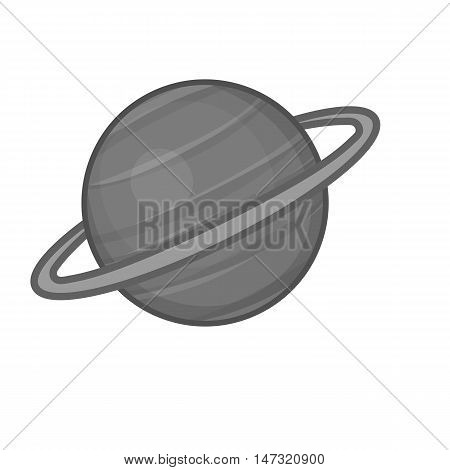 Sarurn planet icon in black monochrome style on a white background vector illustration