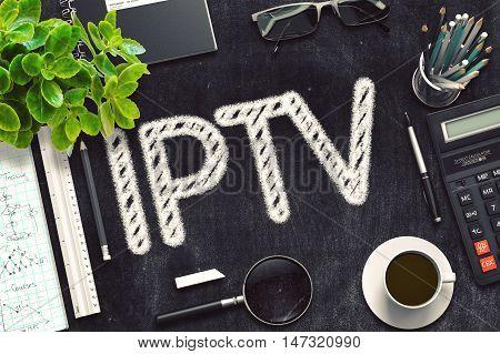 IPTV Handwritten on Black Chalkboard. 3d Rendering. Toned Illustration.