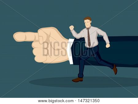 Cartoon businessman running towards the direction pointed by giant hand. Creative vector illustration on concept for following guidance to the right direction isolated on green background.
