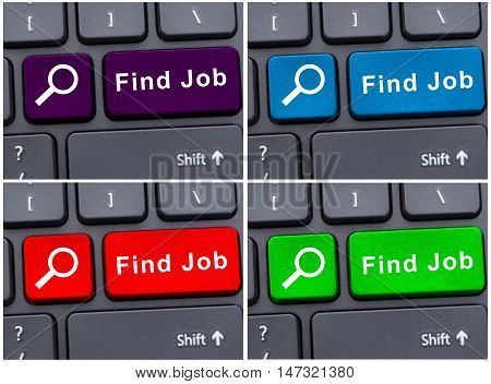 Colorful Find Job Buttons On Keyboard