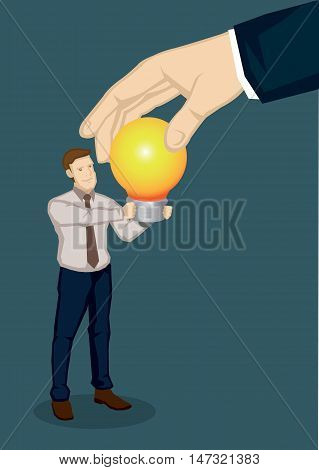 A giant hand taking a lit light bulb from a business professional. Creative vector illustration on business ideas concept isolated on green background.