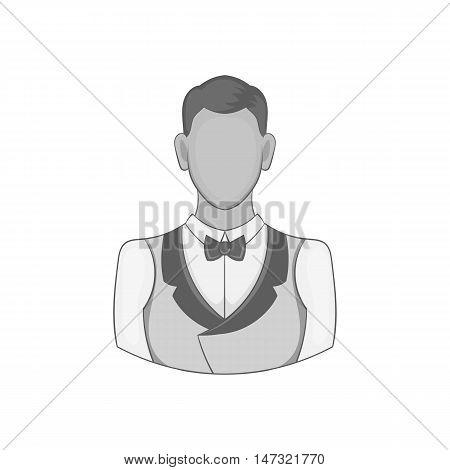 Casino croupier icon in black monochrome style on a white background vector illustration