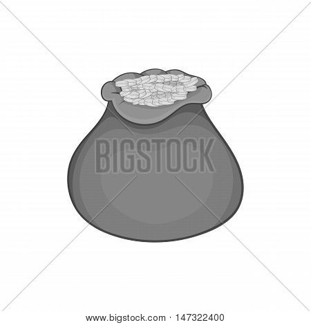 Bag of coins icon in black monochrome style on a white background vector illustration