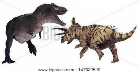 3D rendering of Tyrannosaurus Rex facing off against Triceratops horridus.