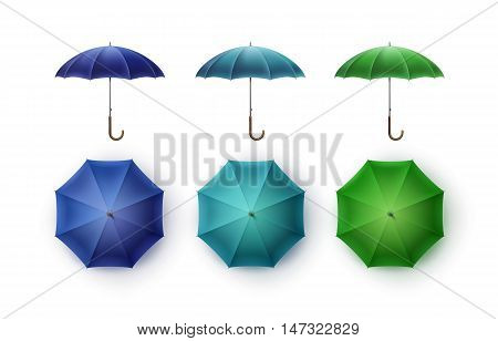 Vector Set of Blue Turquoise Green Blank Classic Opened Round Rain Umbrella Parasol Sunshade Top Front Side View Mock up Close up Isolated on White Background.