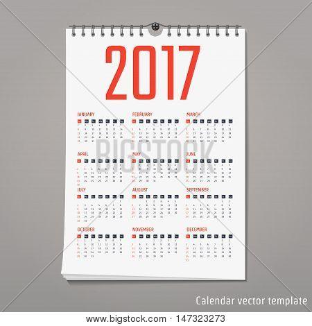 Vector Illustration of flat calendar 2017 for Design, Website, Background, Banner. Minimalism Template for your company brand Calender